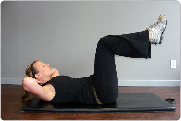 The vertical leg crunch : Like a regular crunch but legs are up ...