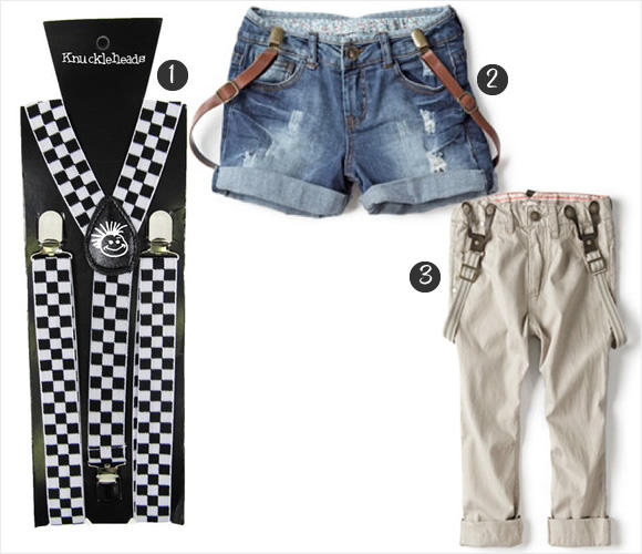 19273b78d ... pants, they are adding a stylish twist this spring. 1. Gromville  Checkerboard Suspenders US$12.00 2. Zara Girls Denim Bermuda Shorts With Braces  C$29.90