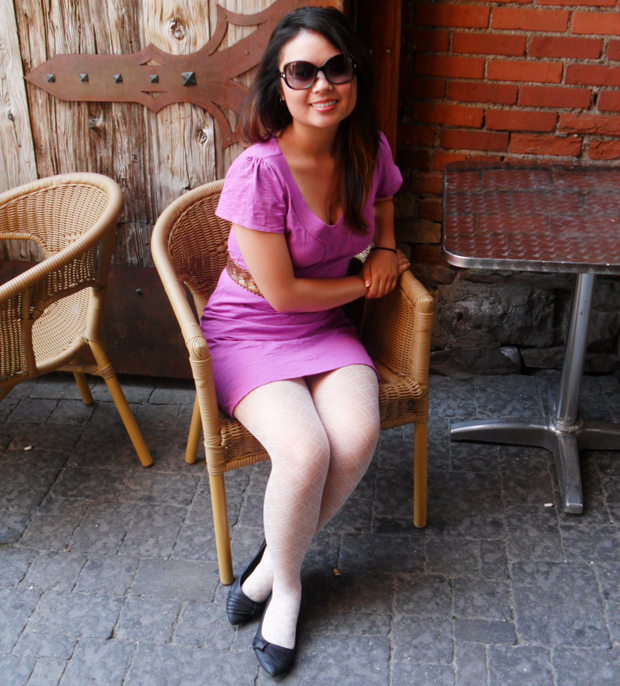 Tammy wears a short purple dress and pairs her opaque lace tights with ...