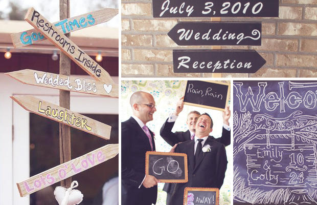 Cute signs around the wedding venue add intimacy to a large event and of