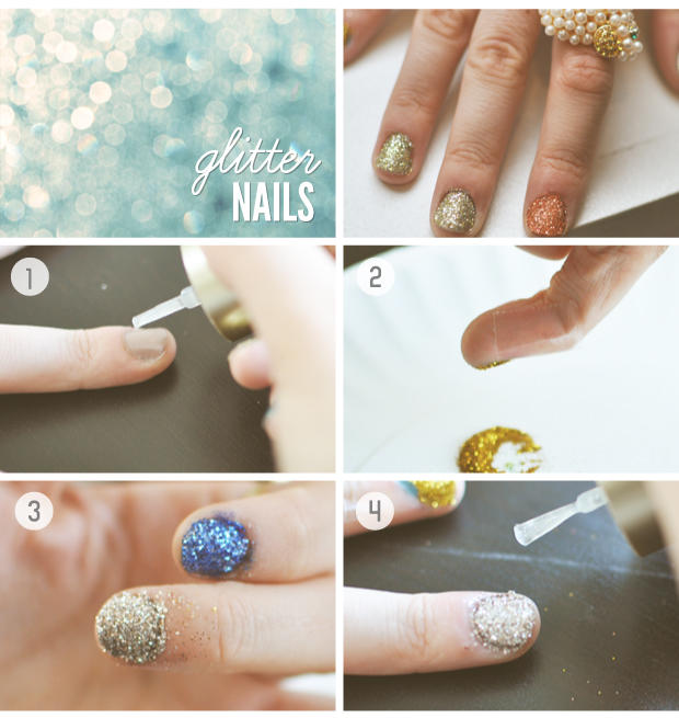 Diy glitter nail art tutorial prinsesfo Image collections