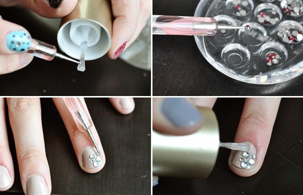 b558920030d6f6 DIY Tutorial  5 Rhinestone Nail Art Designs