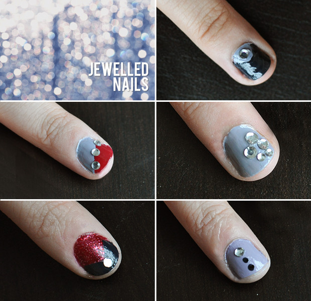 Diy Tutorial 5 Rhinestone Nail Art Designs