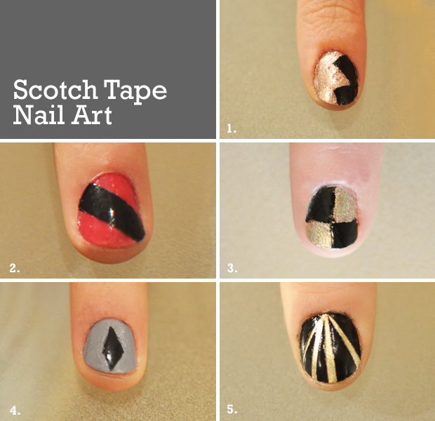5 Nail Art Designs To Try With Scotch Tape