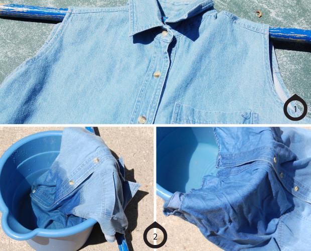 Diy dip dye bleaching ombre denim for How to bleach part of a shirt