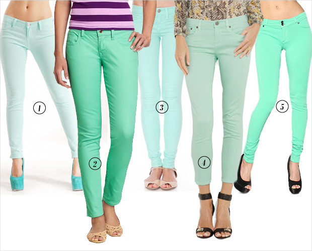 What to wear with mint colored jeans – Global fashion jeans collection