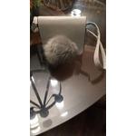 Small grey crossbody bag with pompom