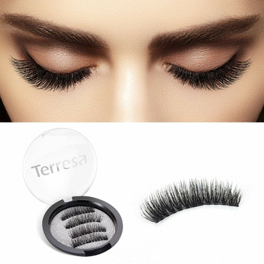 Terresa Magnetic Eyelashes, 3D Fake Eyelashes, False Eye Lashes, No Glue Needed, 0.2mm Ultra Thin, Dual Magnet lashes Set for Natural Charming Look
