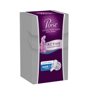 Poise Active Collection Ultra Thin Pads with Wings, Moderate