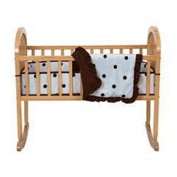 American Baby Company 3 Piece Cradle Set with Large Espresso Dot, Blue