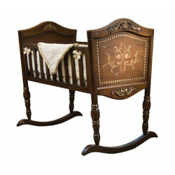 Green Frog Art Rocking Baby Cradle, Old World