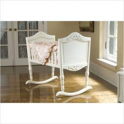 Green Frog Art Rocking Baby Cradle, Antique White