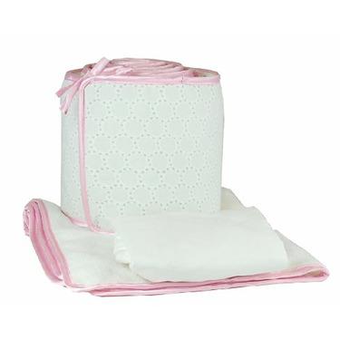 Tadpoles White Eyelet Cradle Set, Pink Trim