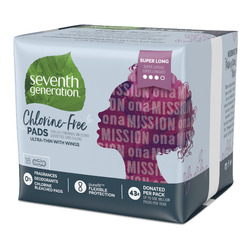 Seventh Generation Chlorine-Free Super Long Ultra-Thin Pads with Wings