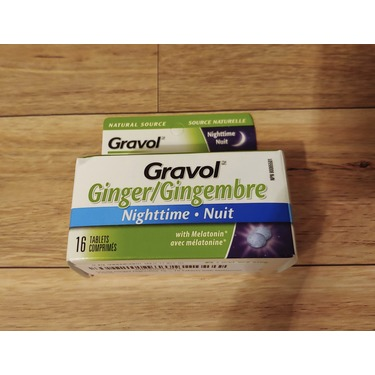 Gravol Ginger Nighttime Tablets for Upset Stomach & Nausea