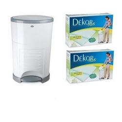 Diaper Dekor Plus Pail with 2 Boxes of Biodegradable Refills