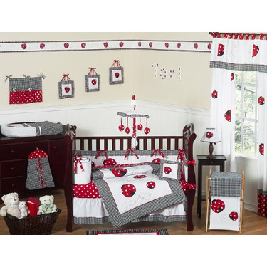 Red and White Ladybug Polka Dot Baby Girls Changing Pad Cover by JoJo Designs