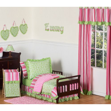 Pink and Green Olivia Girls Baby Changing Pad Cover