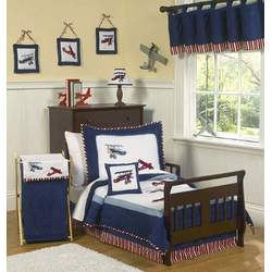Red, White & Blue Vintage Aviator Baby Boys Changing Pad Cover