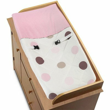 JoJo Designs Changing Pad Cover - Pink and Brown Modern Polka Dots