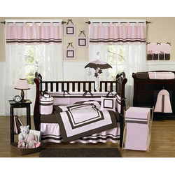 Pink and Brown Hotel Baby Girls Changing Pad Cover