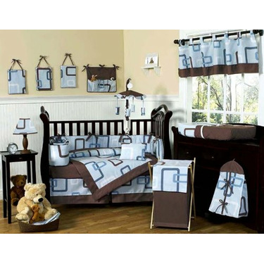 Blue and Brown Geo Baby Boys Changing Pad Cover by JoJo Designs