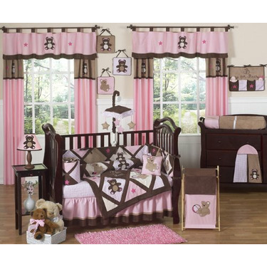 Pink and Chocolate Teddy Bear Girls Changing Pad Cover