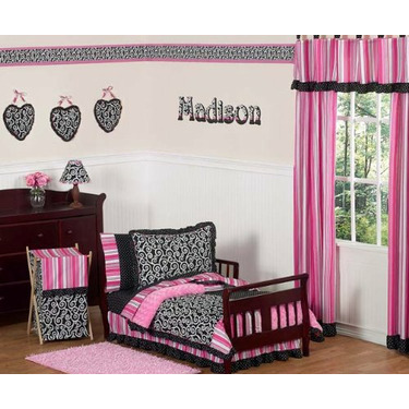 Pink and Black Madison Girls Baby Changing Pad Cover