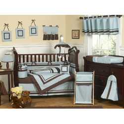 Blue and Brown Hotel Baby Boys Changing Pad Cover