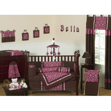 Pink and Brown Bella Baby Girls Changing Pad Cover by JoJo Designs