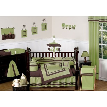 Green and Brown Hotel Baby Boys Changing Pad Cover