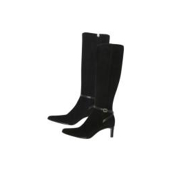 Ralph Lauren: Collection  Black Suede Ankle Strap Boots