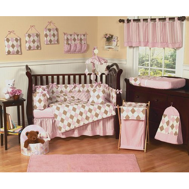 Pink and Brown Argyle Changing Pad Cover by JoJo Designs