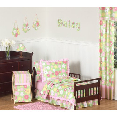 Pink and Green Blossom Girls Baby Changing Pad Cover