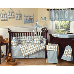 Brown and Blue Argyle Changing Pad Cover by JoJo Designs
