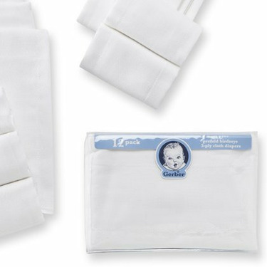 Gerber 12-Pack Prefold Birdseye 3-Ply Cloth Diapers - White