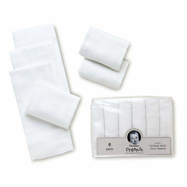 Gerber Brand 6 Pack Prefold Birdseye Organic Diaper, White
