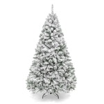Best Choice Products 6ft Snow Flocked Hinged Artificial Christmas Pine Tree Holiday Decor w/ Metal Stand, Green