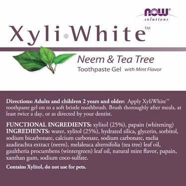 NOW Xyliwhite Neem and Tea Tree Toothpaste Gel, 181g