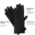 Isotoner Women's Stretch Classics Fleece LinedGloves One Size Black