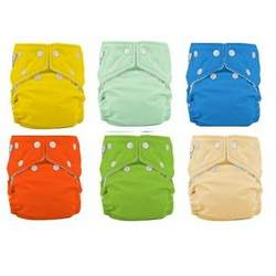Fuzzi Bunz One Size Cloth Diapers 6 Pack Boy Colors