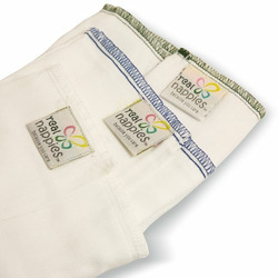Real Nappies Six-Pack of Cotton Prefold Cloth Diapers, Newborn Size, for babies up to 12 weeks, 6-13 lb