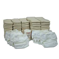 OsoCozy Prefold Cloth Diaper Basic Package - Unbleached Prefolds & White Velcro Bummis Super Whisper Wraps