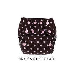 Blueberry Deluxe Diaper, Pink on Chocolate