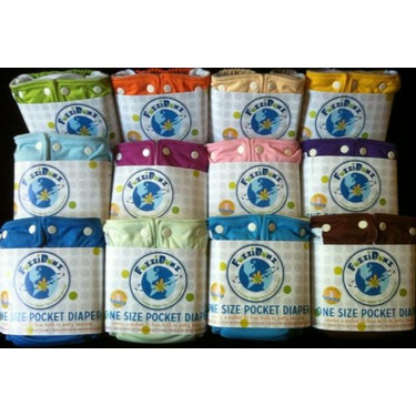 FuzziBunz One Size Cloth Diapers 12 Pack Boy (new) Colors