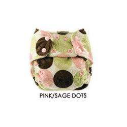 Blueberry Minky One Size Bamboo Pocket Diaper-Pink/Sage Dot