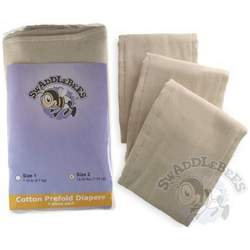 Swaddlebees 6 Piece Prefold Diapers, Unbleached, Small