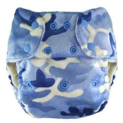 Blueberry Minky Diaper Snaps, Blue Camo