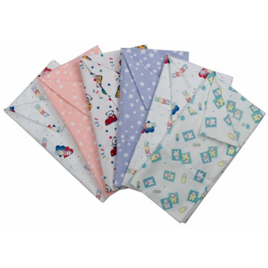 Kushies 100% Cotton pre-fold Cloth Diapers Assorted Prints 6-pack