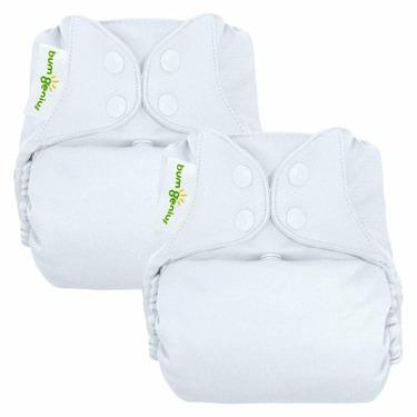 bumGenius Reusable Diaper 2 pack - White (Snap Closure)